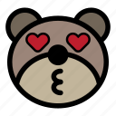 bear, emoji, emoticon, kawaii, kiss