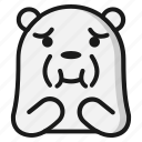 bear, emoji, emoticon, expression, nausea icon