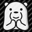 bear, emoji, emoticon, expression, thanks