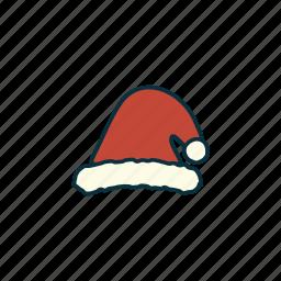 christmas, decoration, elements, pack, santa hat, tradition, wbmte252 icon