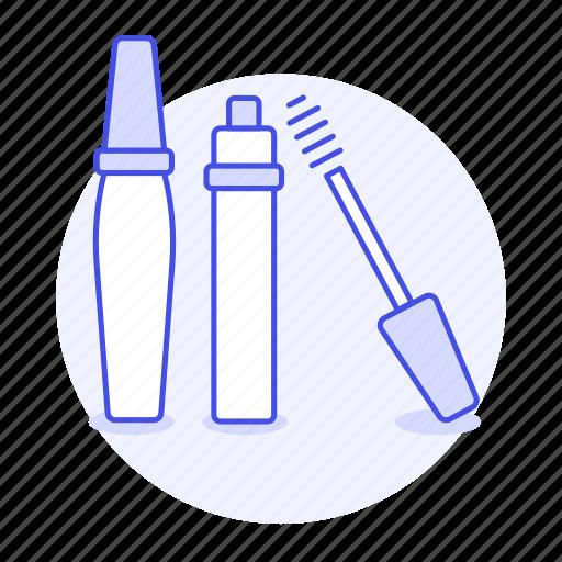 1, applicator, beauty, brush, cosmetic, eyelash, make, makeup, mascara, tube, up, wand icon