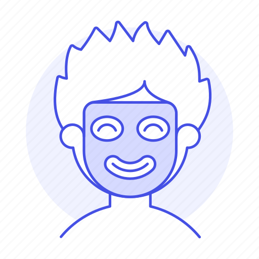 beauty, care, cosmetic, face, facial, male, mask, relaxing, sheet, skin, spa, treatment icon