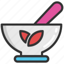 herbs, mortar, pestle, pharmacy, utensils icon