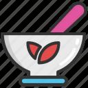 herbs, mortar, pestle, pharmacy, utensils icon
