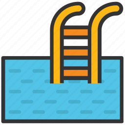 pool ladders, pool steps, summertime, swimming, swimming pool icon