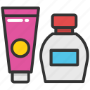 cosmetics, hygiene, lotion, makeup, shampoo icon