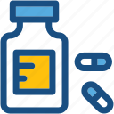 drugs, drugs jar, medicine bottle, medicine jar, pills icon