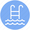 pool, staircase, swim, swimming pool, swimming staircase, waves icon