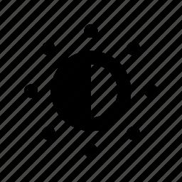 brighten, dim, half sun, sun, sunlight icon