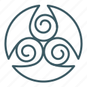 drop, spiral, sign, triskelion, spa, trinity
