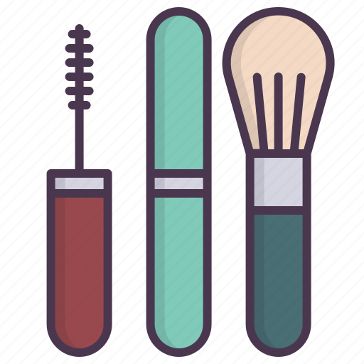 beauty, brush, face, fashion, makeup, mascara, tools icon