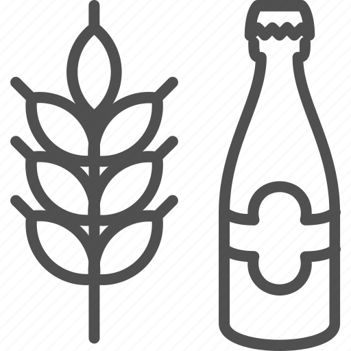 beer, bottle, brewery, cereal, grain, wheat icon