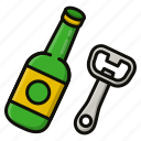 beer, bottle, corkscrew icon