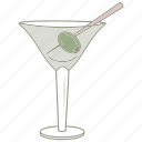 alcohol, bar, drink, glass, martini, olive, pub icon