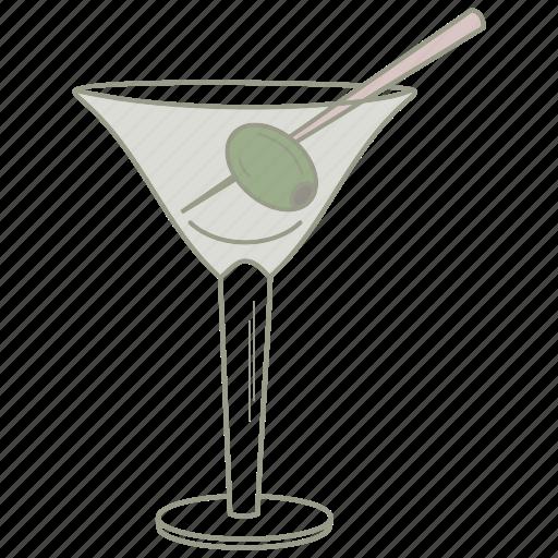 alcohol, bar, drink, glass, martini, olive, pub icon