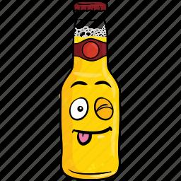 alcohol, beer, bottle, brew, cartoon, emoji icon