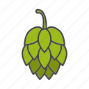 ale, beer, brewing, cone, hop, hop cone, plant icon