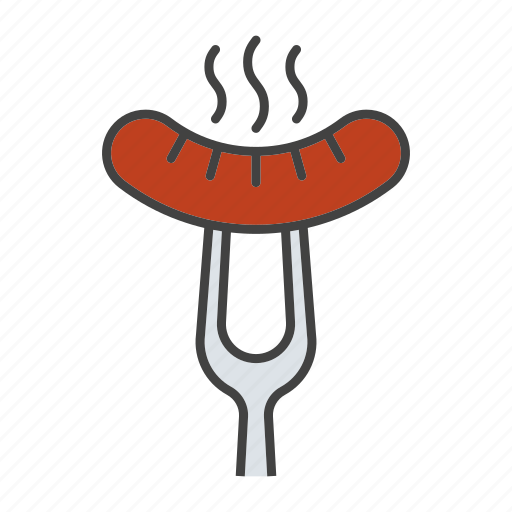 barbecue, food, fork, grill, hot, hotdog, sausage icon