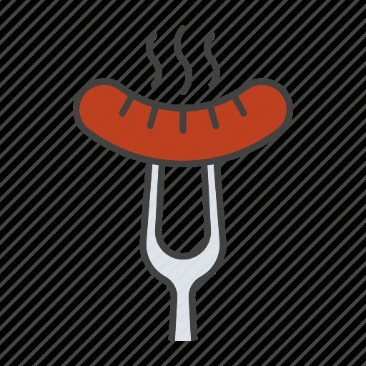 barbecue, food, fork, grill, hot, hotdog, sausage icon