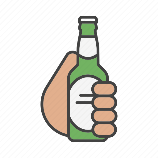 alcohol, ale, beer, bottle, drink, hand, holding icon