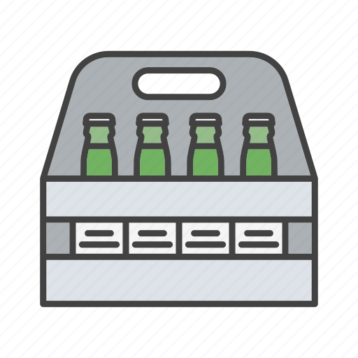 alcohol, beer, bottle, box, pack, package, six pack icon