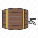 alcohol, barrel, beer, cask, keg, rum, wooden barrel icon