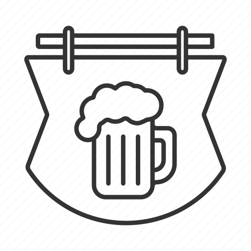 alehouse, bar, beer, beer mug, pothouse, pub, signboard icon