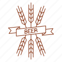 barley, beer, ear, logo, malt, ribbon, wheat icon