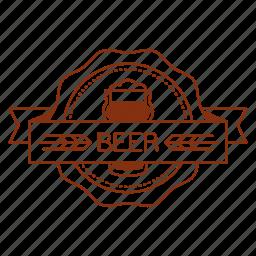 badge, beer, emblem, glass, logo, ribbon, seal icon