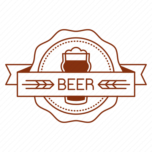 badge, beer, emblem, glass, logo, ribbon, seal icon