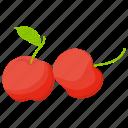 berries, berry fruit, cherries, cherry fruit, red cherry icon