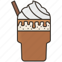 caramel, coffee, frappe, iced, whipped icon