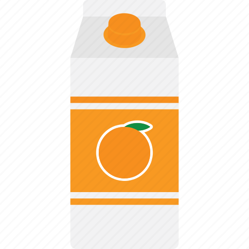 beverage, box, carton, drink, juice, orange, packaging icon