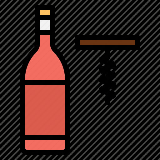 alcohol, bottle, celebration, opener, wine icon