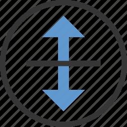 arrow, circle, drag, move, vertical icon