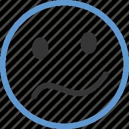 concern, emoticon, face, thinking icon