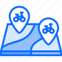 bicycle, bike, cyclist, location, map, pin, tournament icon