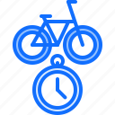bicycle, bike, cyclist, speed, stopwatch, time, tournament icon