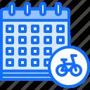 bicycle, bike, calendar, cyclist, date, tournament icon