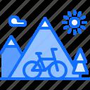 bicycle, bike, cyclist, mountain, nature, tournament, way icon