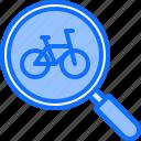bicycle, bike, cyclist, magnifier, search, tournament icon