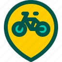 bicycle, bike, location, map, road icon