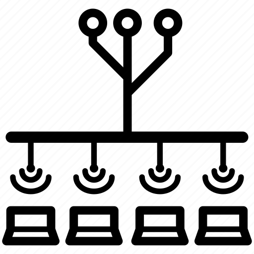 balancing, cluster, distributing, load, network, process icon