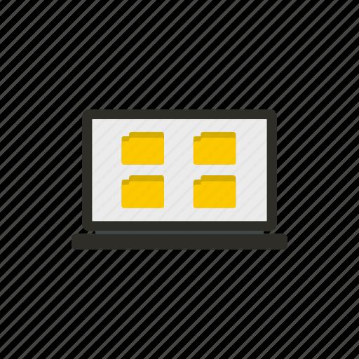 copying, deleting, folder, laptop, moving, sharing, storage icon