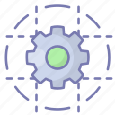 process, cogwheel, analytics, connection, integrate, technology, setting icon