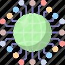 globe, data, distributed, global, network, database, world icon