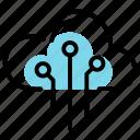 cloud data, cloud format, cloud storage, database servers, database storage, high speed servers, online cloud connectivity icon