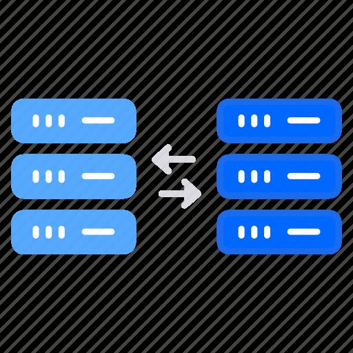 bigdata, data exchange, data source, database, database server, distributed computing icon