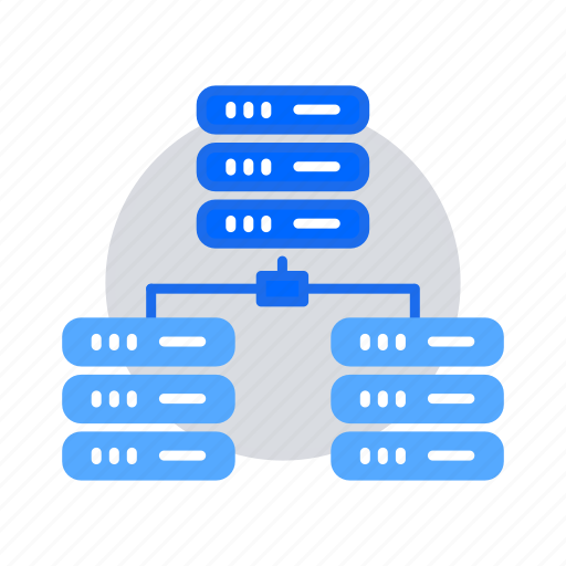 bigdata, data center, database, distributed computing, hosting server, network icon