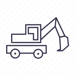 digger, excavator, truck, vehicle icon